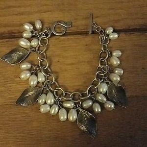 Silpada sterling pearl and leaf bracelet